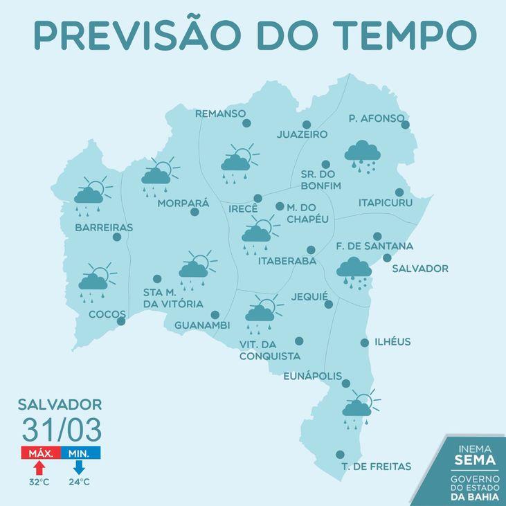 Previsão de chuva no centro-norte da Bahia pelos próximos ...